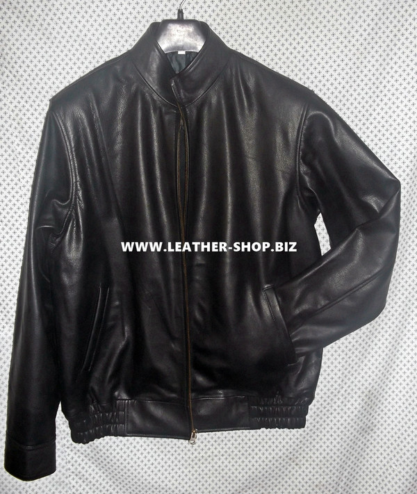 Leather bomber jacket front view 1