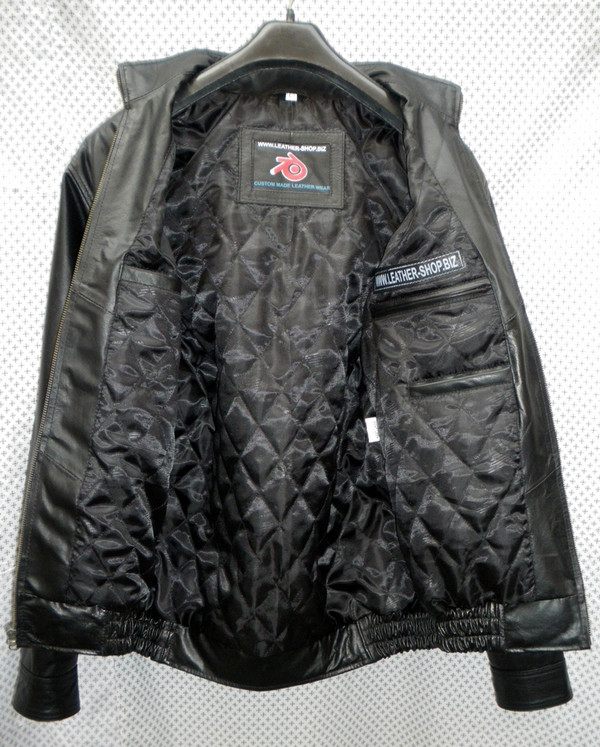 Leather bomber jacket inside lining view pic
