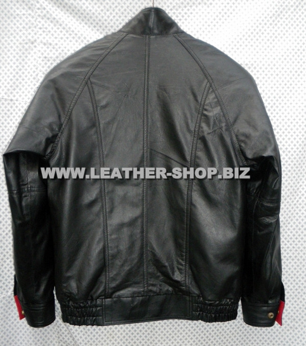 leather bomber jacket MLJ0032B back pic