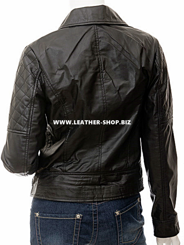 leather jacket for Ladies custom made LLJ602 back picture