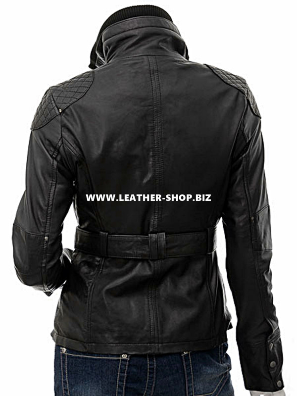 Bőrdzseki női LLJ604 kabát hátulról