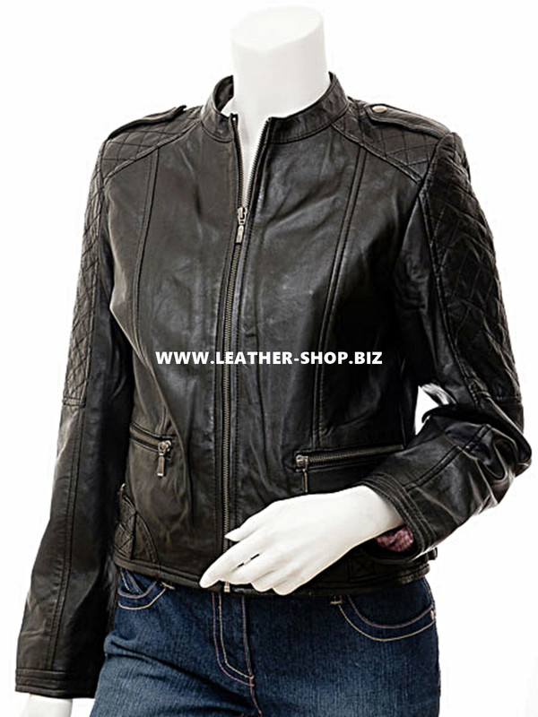 made to order ladies leather jacket LLJ605 jacket front picture