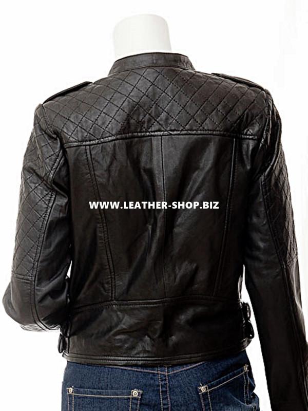 made to order ladies leather jacket LLJ605 jacket back picture