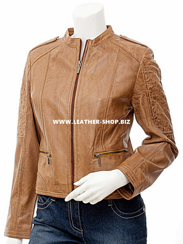 Leather jacket for Ladies custom made LLJ606 jacket front picture