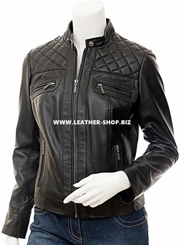 Custom leather jacket for ladies LLJ607 jacket friont picture
