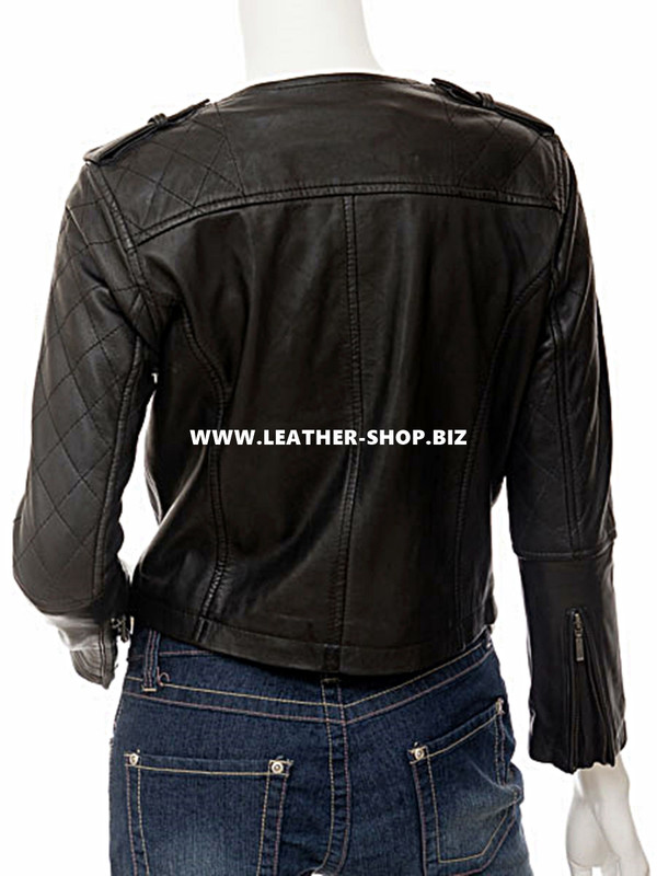 leather jacket womans style LLJ608 jacket back picture
