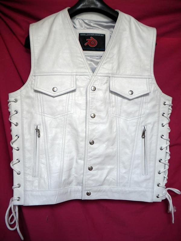 Pánská kožená vesta MC Style MLV1335 bez švů na zádech