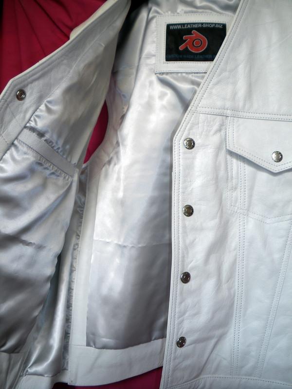 Mens Leather Vest MC Style MLV1335 no seams on back