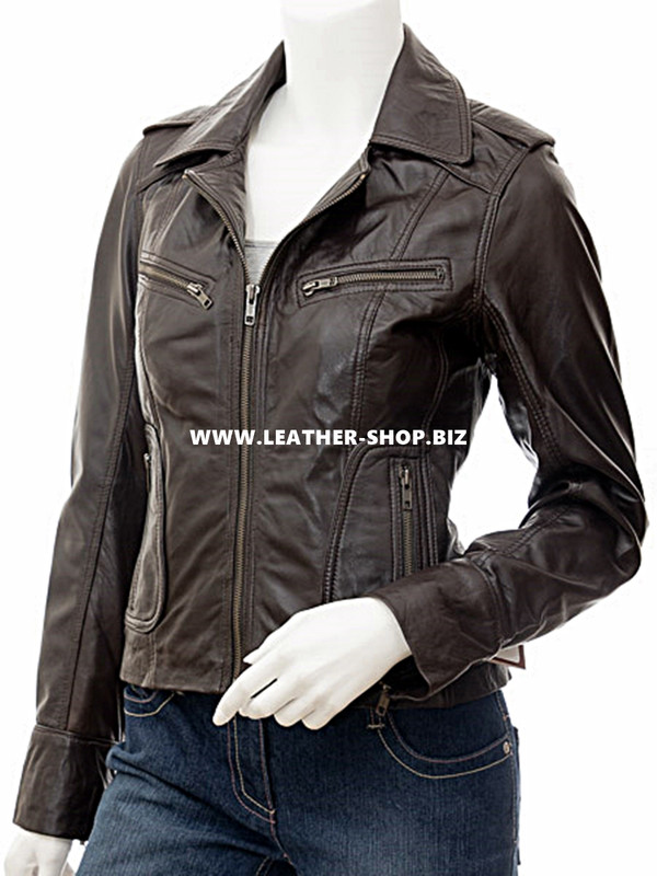 Ladies Leather Jacket Custom Made Motorcycle Style LLJ611 Made In 8 Colors