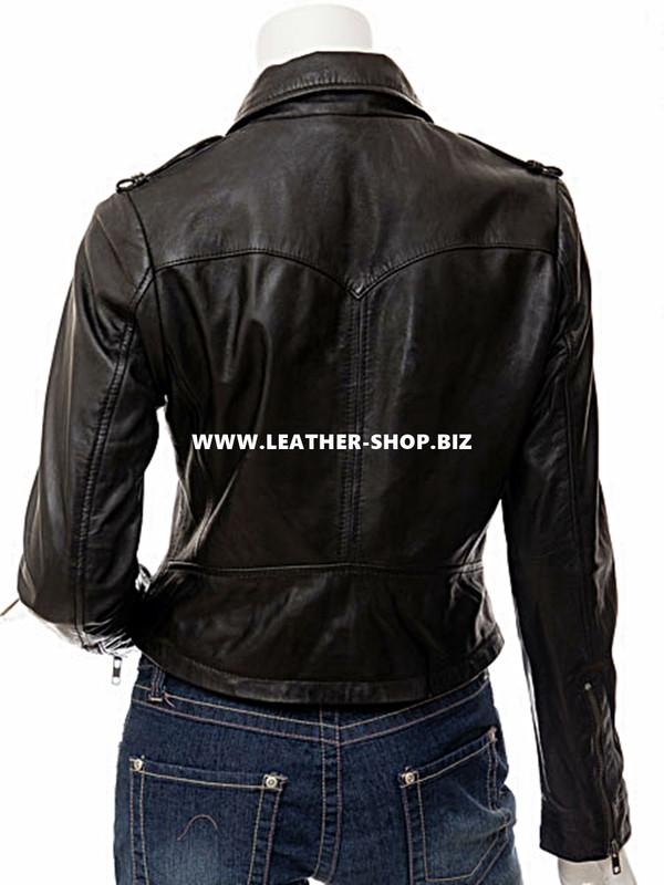 Ladies Leather Jacket Custom Made Motorcycle Style LLJ614 Ṣe Ni 8 Awọn awọ