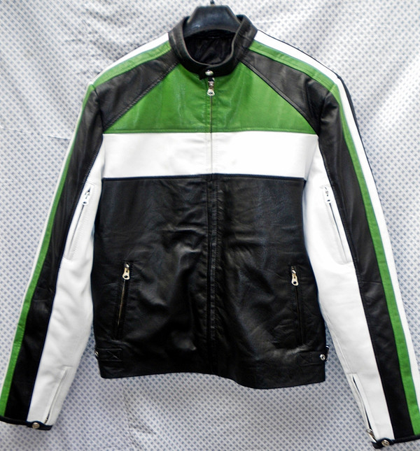 Leather Jacket Racer Style MLJ222 Custom Made In 8 Colors