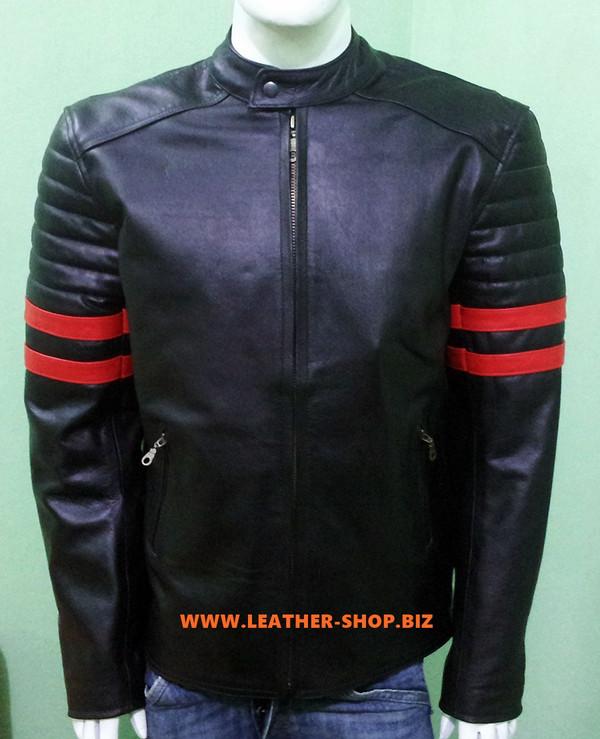 Kožená bunda Racer Style s pruhy MLJ225 Custom Made v barvách 8