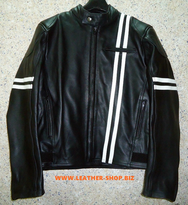 Leather Jacket Racer Style with Stripes MLJ235 Custom Made In 8 Colors