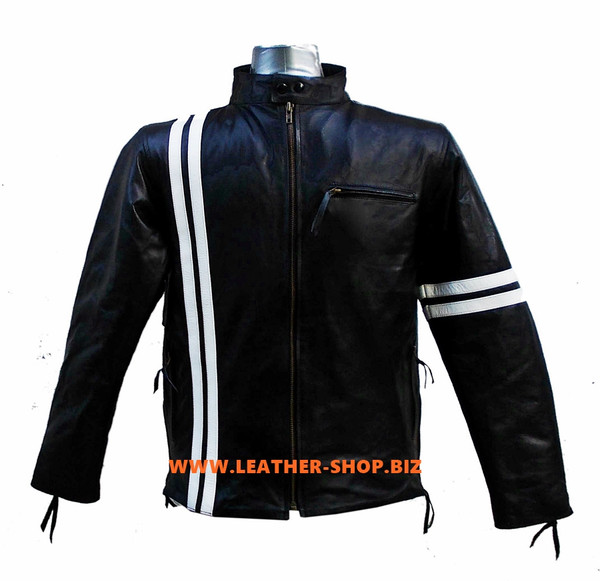 Leather Jacket Racer Style with Stripes MLJ236 Custom Made In 8 Colors