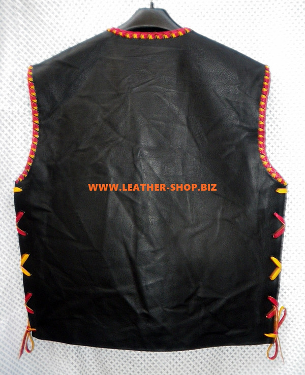 Mens Leather Vest Braided Style MLVB733 Any Color Braid Available