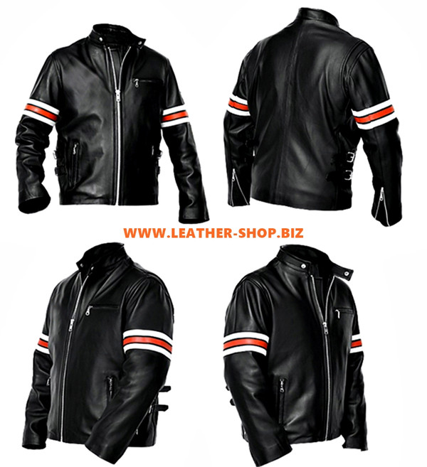 Leather Jacket Racer Style with Stripes MLJ229 Custom Made In 8 Colors