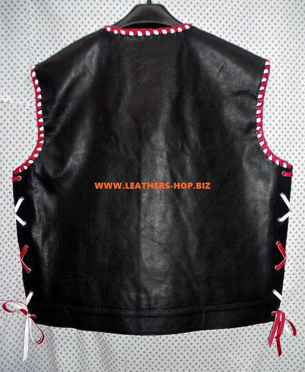 Mens Leather Vest Braided Style MLVB750 Two Color braid