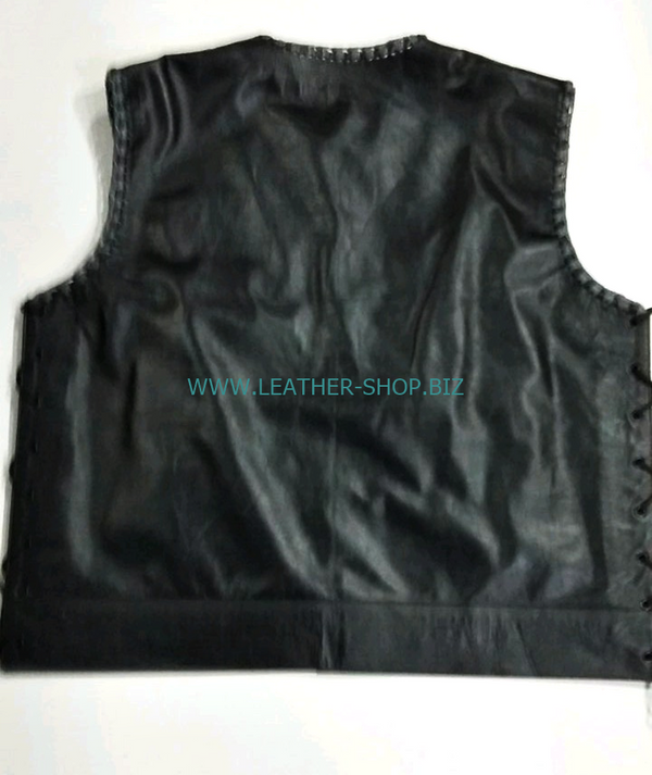 MENS LEATHER VEST with BRAID STYLE MLVB750 TWO COLOR no seams on back of vest, gray and black leather front of vest pic