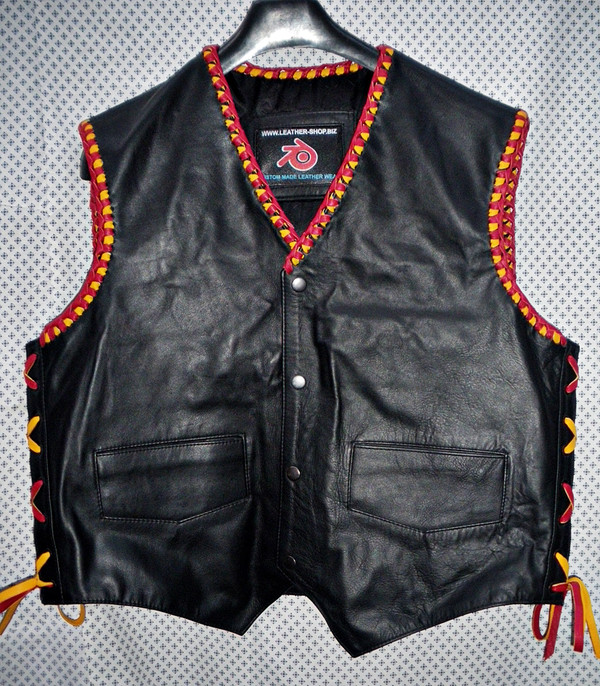 Mens leather vest with braid style MLVB734 Red + Yellow color braid shown your choice of colors, front pic