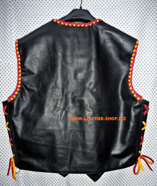 Leather vest with braid MC style MLVB734 no seams on back pic