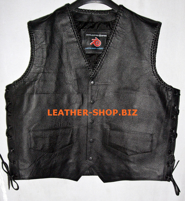 Mens leather vest with braid style MLVB734 Black color braid shown front pic