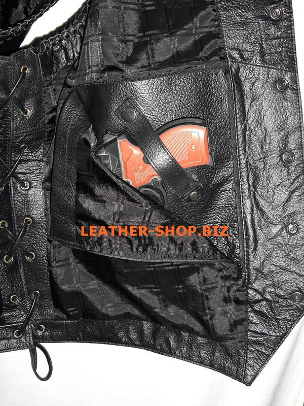 Mens leather vest style MLVB734 Optional Gun Pocket shown pic