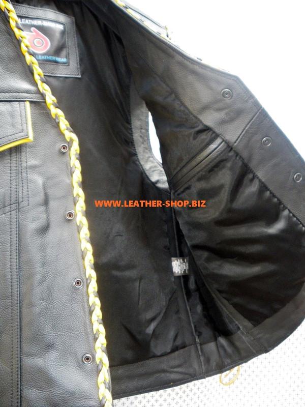 رجل سترة جلدية مزين نمط MLVB1300 لونين