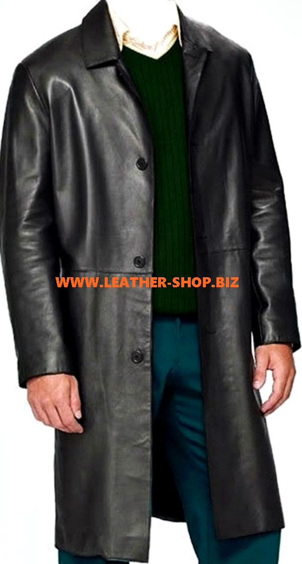 Leather Long Coat Style MLC545 Custom Made Available In 9 Colors