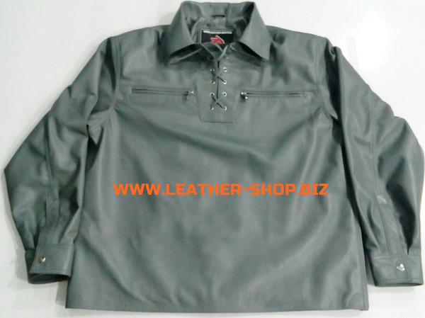 Gray leather shirt pullover style LS091 custom made www.leather-shop.biz front pic