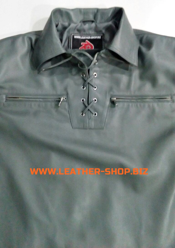 Gray leather shirt pullover style LS091 custom made www.leather-shop.biz front pic 2