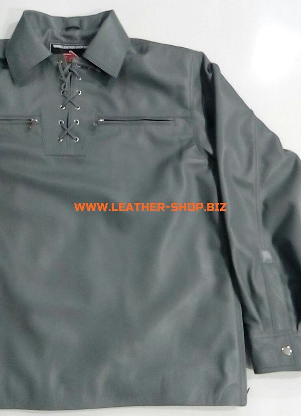 Gray leather shirt pullover style LS091 custom made www.leather-shop.biz front pic 3