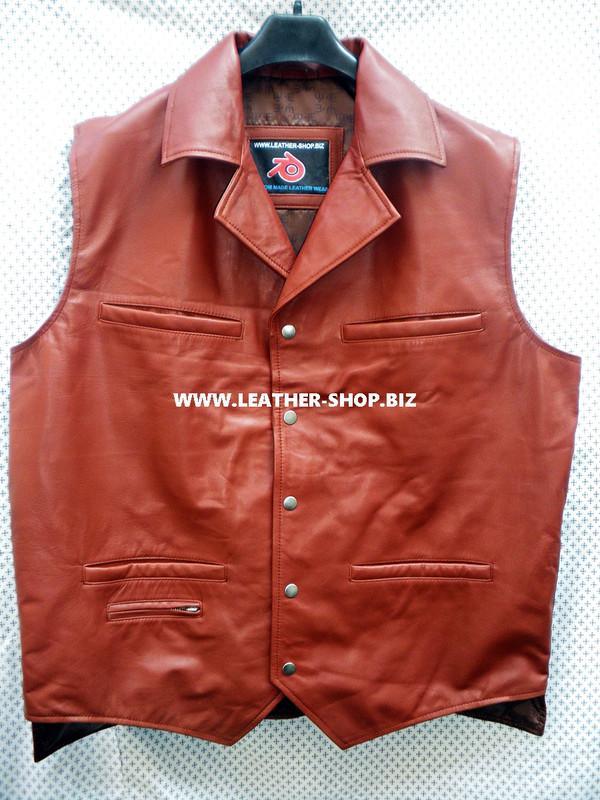 Mens Leather Vest Western Style MLV88 2 gun pockets, longer back