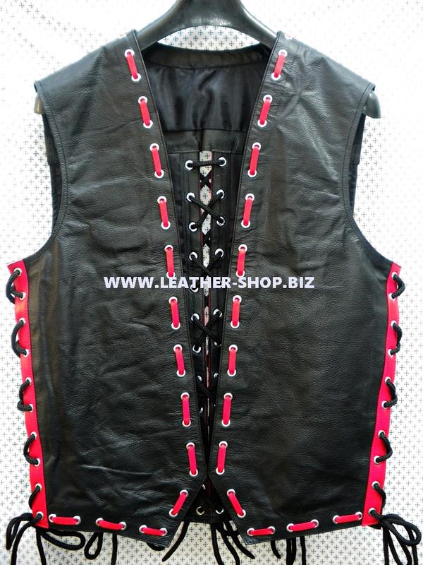 Mens Lederjas Vest Leder Stil MLVB1666 Mit Accessoires
