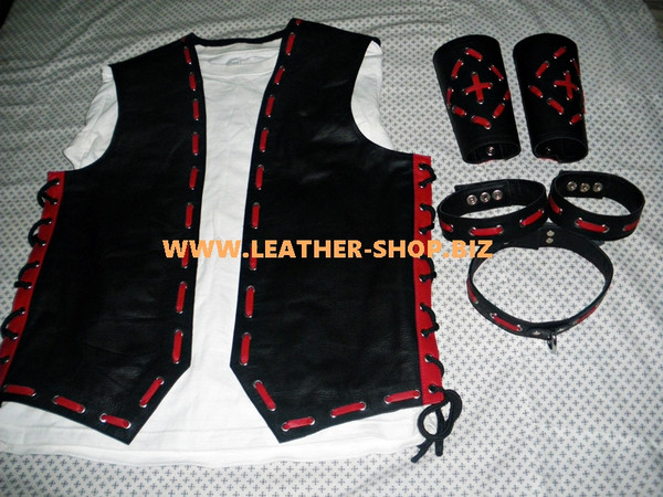 Mens Leather Vest Braided Style MLVB1666 With Accessories