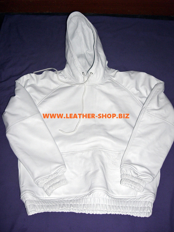 Leather Hoodie with Lambskin Lining Custom Made Style LLH075