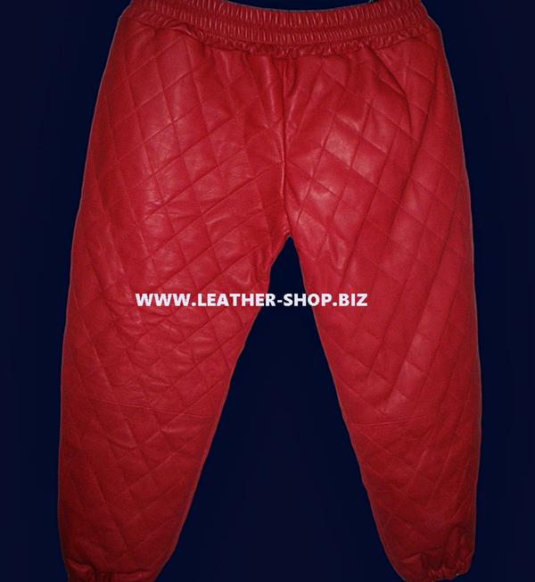 Muške kožne hlače od janjeće kože od stila LSP111 Diamond / Quilted šivanje