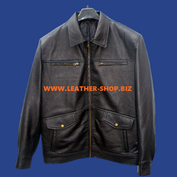 Leather Jacket Bomber Style MLJ0047B Custom Made In 8 Colors