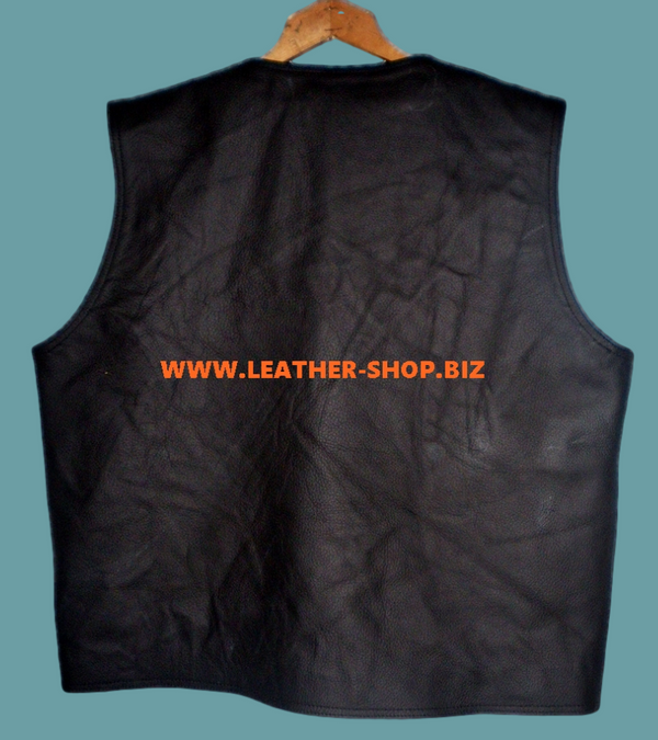 Mens leather vest custom made style MLV097 no seams, back pic