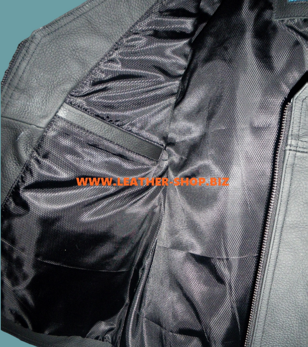 Mens leather vest custom made style MLV097 right inside pocket jpeg