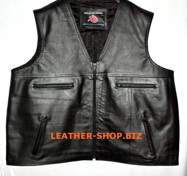 Leather vest custom made style MLV097 no seams on back www.leather-shop.biz front pic 2
