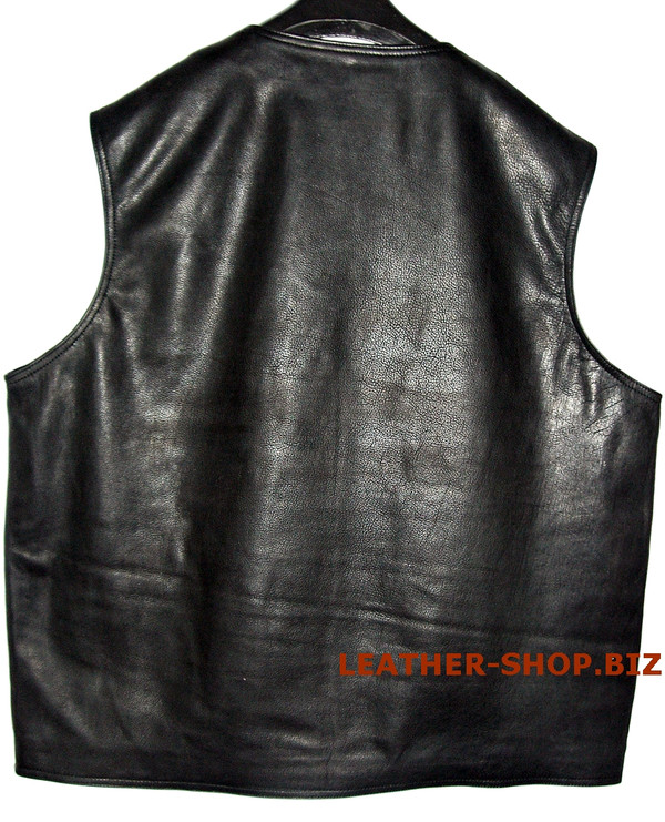Leather vest custom made style MLV097 no seams on back www.leather-shop.biz back pic 2