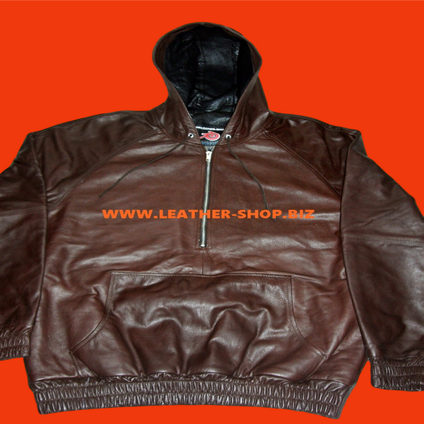 Cowhide Leather Hoodie with Lambskin Lining Custom Made Style CLH051