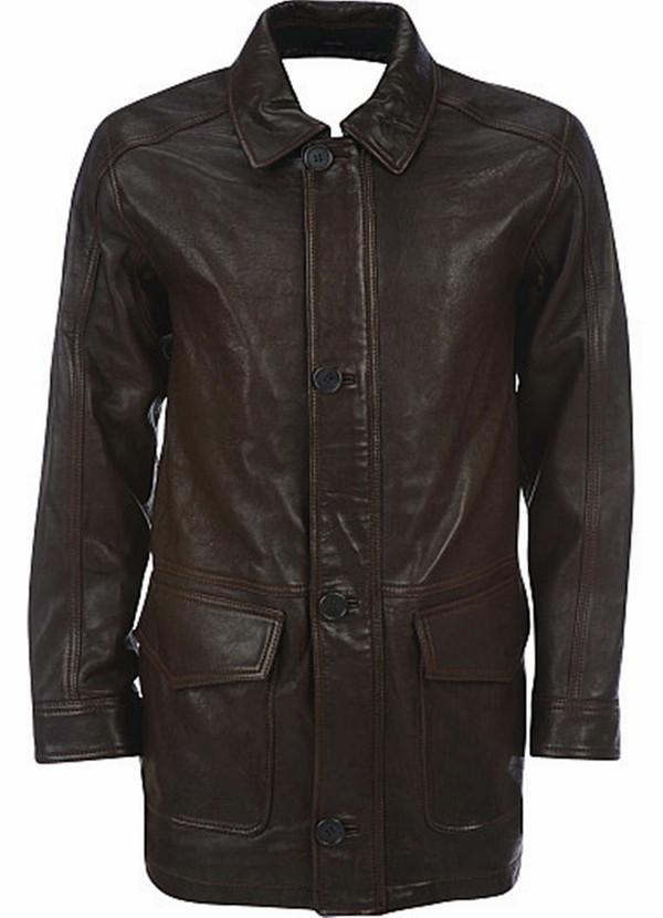 Men's leather Long Coat custom made style MLC530