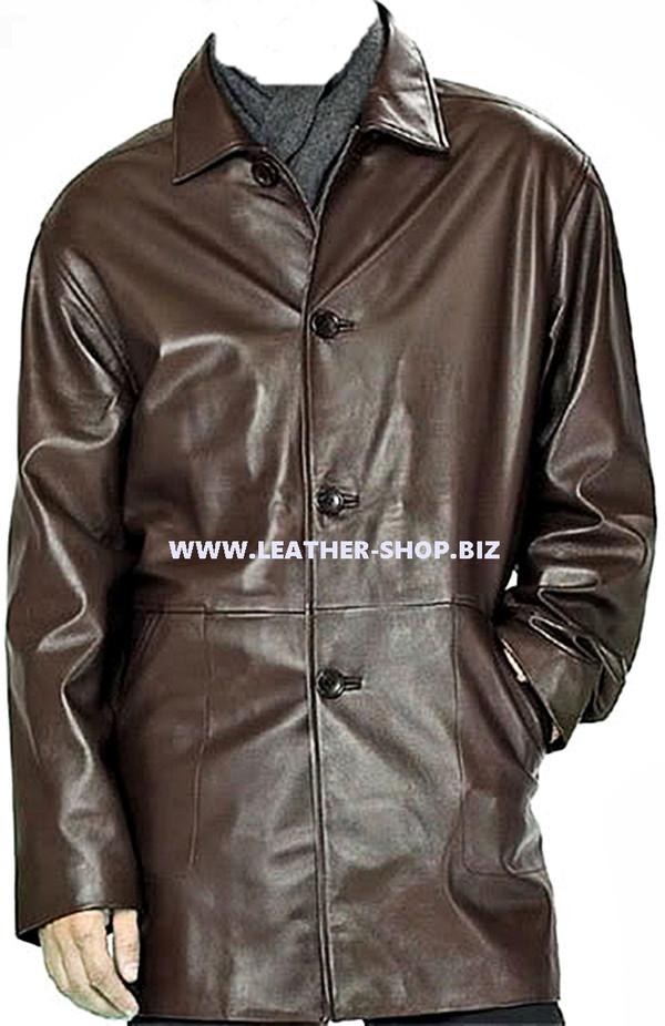 معطف جلد طويل للرجال مصنوع حسب الطلب MLC534