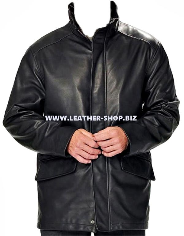 Men's leather Long Coat custom made style MLC531