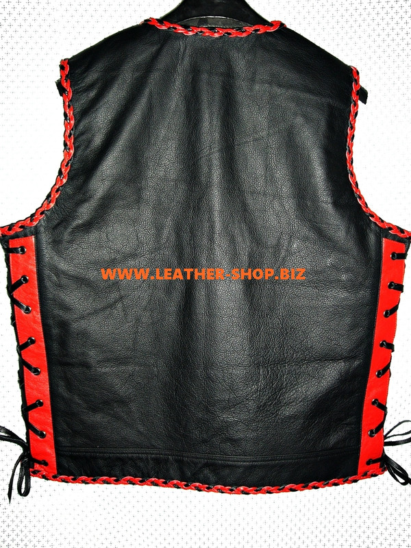 Mens Leather Vest Braided Style MLVB1301 Two Color