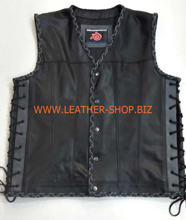 Biker leather vest style 1301 no front pockets, black and gray braid