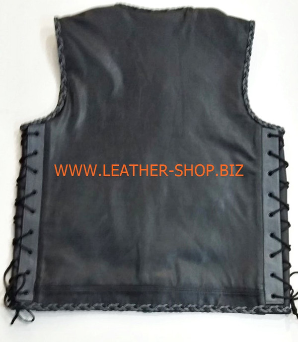 Biker leather vest style 1301 no seams on back, black and gray braid