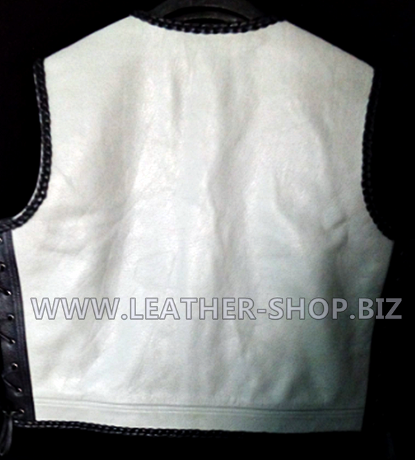 Biker leather vest style 1301 gray and black leather and black braid no seams on back of vest