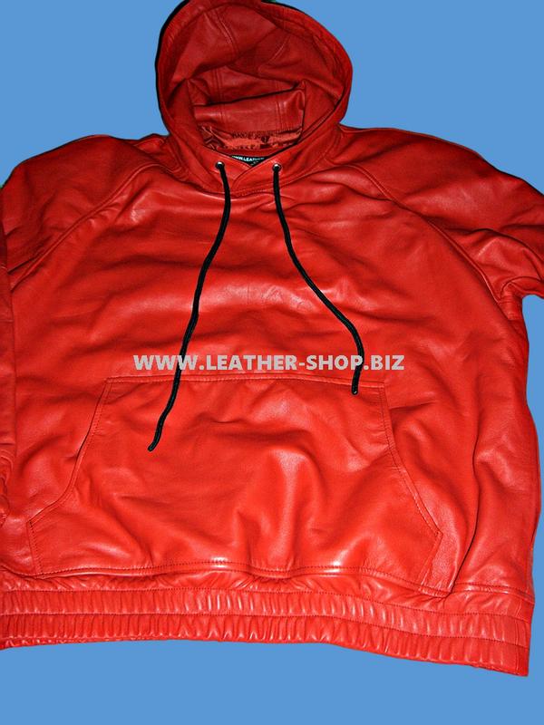 Sudadera con capucha de cuero con capucha forrada de cuero y bolsillos estilo LLH081